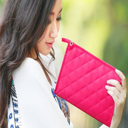 【春夏_手拿化妆包】韩国女菱格帆布零钱手机手抓包