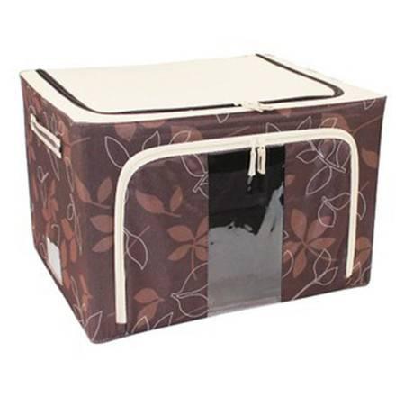 普润 22L咖啡色 牛津布钢架百纳箱 有盖整理箱单视 双开门