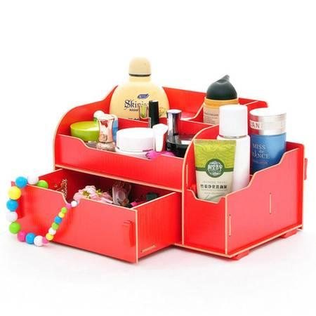 实用二代抽屉木质收纳盒/化妆盒--红色