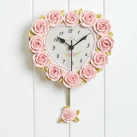 普润 浪漫挂钟 玫瑰浮雕挂钟 客厅挂钟 树脂挂钟 田园风格静音钟 可爱心型时钟
