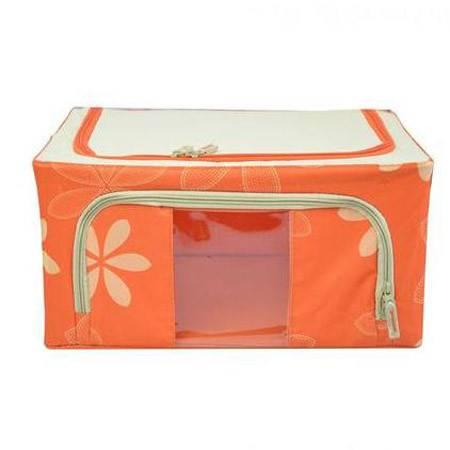 普润 44L橙色 牛津布钢架百纳箱 整理收纳箱 橙色树叶 单视 双开门