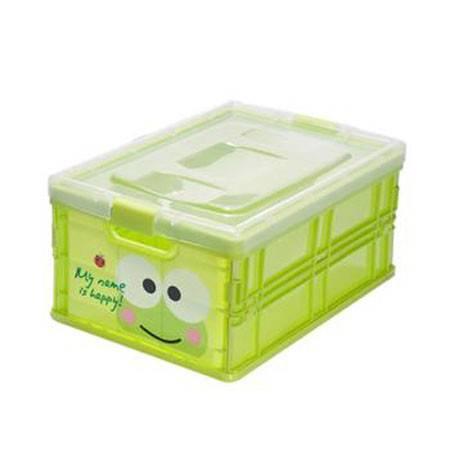 塑料卡通可折叠收纳盒塑料盖收纳箱大号30*21.5*15 青蛙M6105