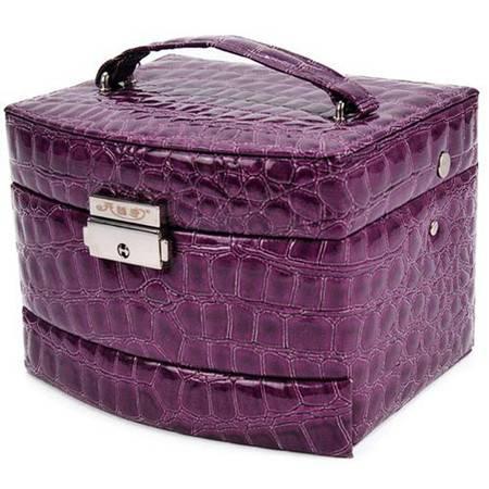 开馨宝自动式三层首饰收纳盒/饰品盒/化妆盒-紫色(K8519-1)