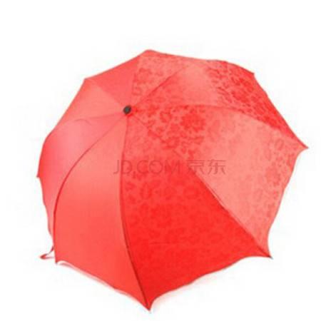 普润 太阳伞遮阳伞 防紫外线雨伞防晒彩虹伞红色