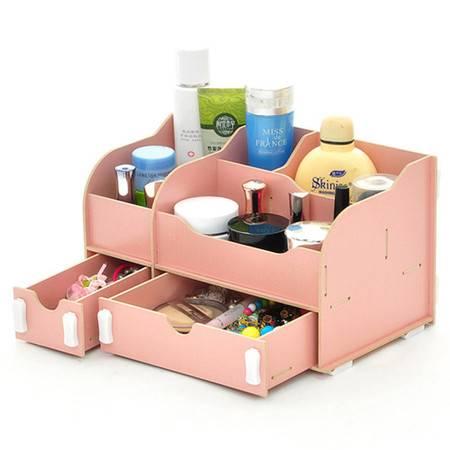 实用二代一大一小B款双抽屉木质收纳盒/化妆盒--粉色