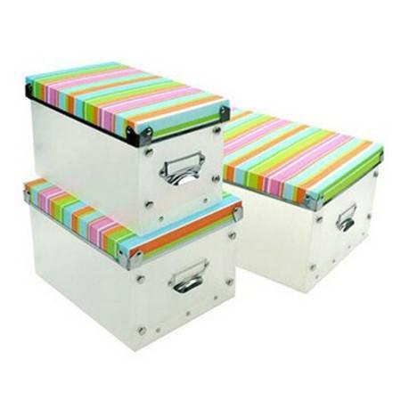 红兔子 精品整理盒三件套 多功能金属边环保PP有盖收纳盒 七色彩条