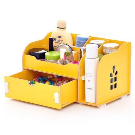 实用二代开侧窗大抽屉木质收纳盒/化妆盒--黄色