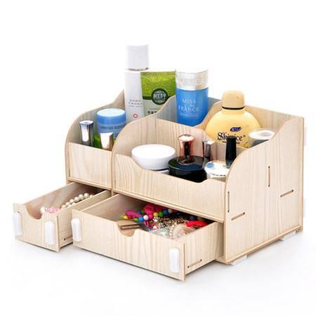 实用二代一大一小B款双抽屉木质收纳盒/化妆盒--白色
