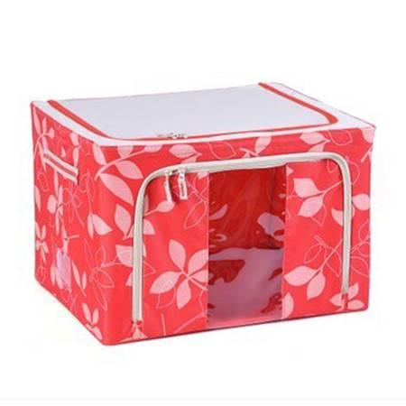 普润 80L红色 牛津布钢架百纳箱 整理收纳箱 红色树叶 单视 双开门