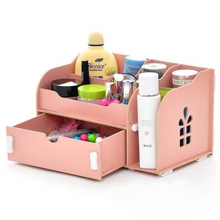 实用二代开侧窗大抽屉木质收纳盒/化妆盒--粉色