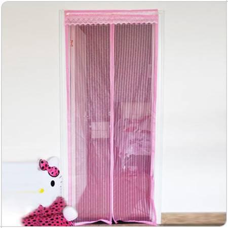 条纹磁性门帘◆防蚊磁性软纱门帘磁性防蚊防虫门帘~磁性纱门-粉色