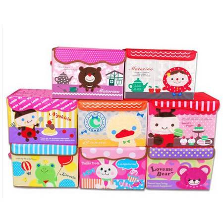 普润 可擦洗衣物整理箱有盖收纳盒 刺绣卡通收纳箱 玩具收纳 款式随机