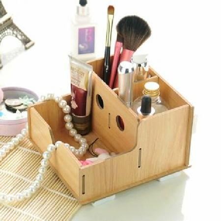 实用二代镂空木质收纳盒 化妆盒核桃色