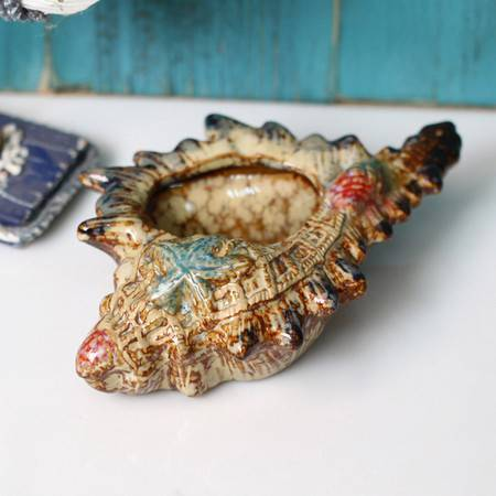 普润 陶瓷海螺 装饰摆件/家居软装饰品/烟灰缸