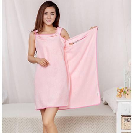 普润 三孔浴裙、浴群、超强吸水浴巾 情侣浴袍155*75CM 粉色