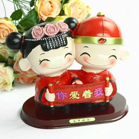"""普润 树脂""""你爱着我""""工艺品 婚庆桌面摆设 情侣结婚礼物"""