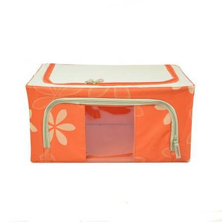 普润 22L橙色 牛津布钢架百纳箱 有盖整理箱 绿色树叶 单视 双开门