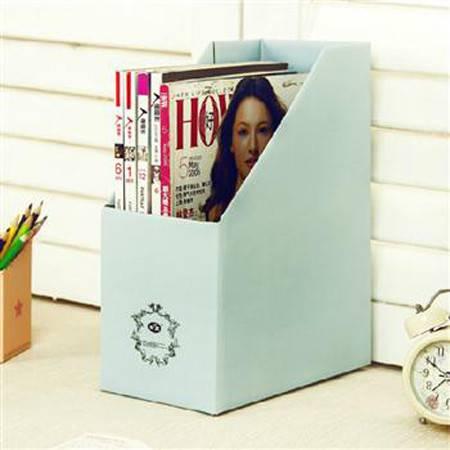 畸良加厚加固甜蜜糖果色桌面文件杂志收纳盒(天蓝色)