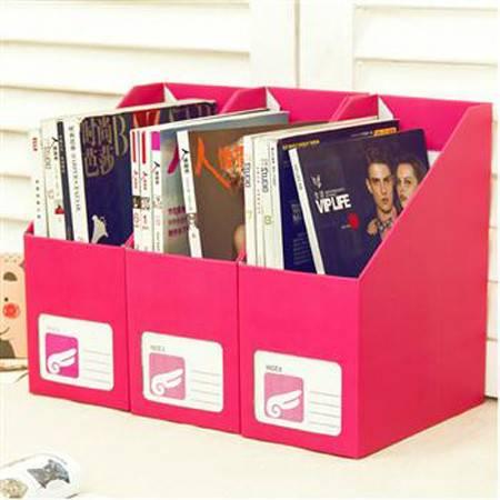 畸良韩国DIY 糖果色 桌面收纳盒桌面整理盒文件收纳盒(大号玫红)