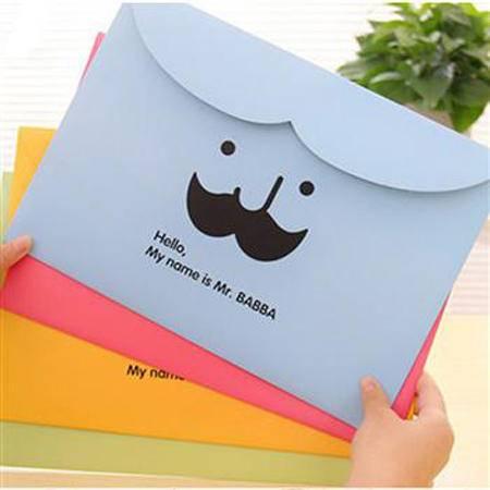 畸良胡子文件袋纸质文件收纳袋 横版魔术贴卡通文件夹(蓝色)