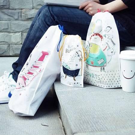 畸良 加厚无纺布束口袋 旅行收纳袋 鞋袋 杂物袋 旅游整理袋(3枚入)