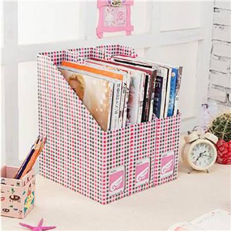 畸良DIY文件盒 桌面收纳盒桌面整理盒文件收纳盒( 粉蓝小格小号)