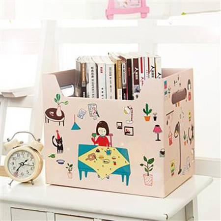 畸良 大容量纸质收纳箱玩具衣服储物箱有盖搬家纸箱宿舍整理箱整理盒杂物盒收纳盒 (小女孩)