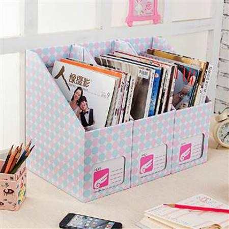畸良 韩版创意粉蓝圆点diy纸质书本文具桌面整理盒文件收纳盒(大号粉蓝圆点)