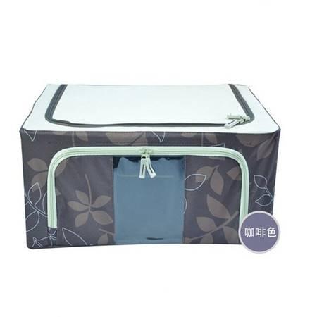 普润 66L咖啡色 牛津布钢架百纳箱 整理收纳箱 咖啡色树叶 单视 双开门