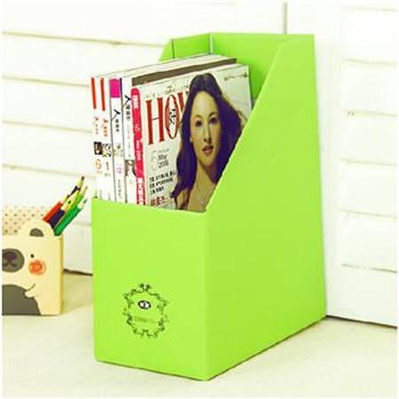 畸良加厚加固甜蜜糖果色桌面文件杂志收纳盒(果绿)