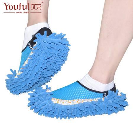 雪尼尔鞋套懒人擦地鞋套 可拆洗冬地板拖鞋拖地擦地鞋套 粉色