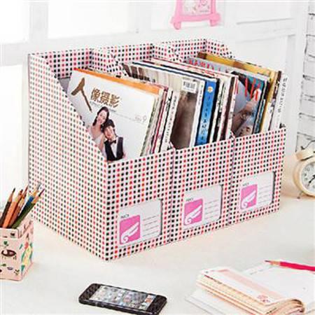 畸良创意家居粉蓝小格DIY纸质书本文具桌面收纳盒桌面整理盒文件收纳盒(大号粉蓝小格)