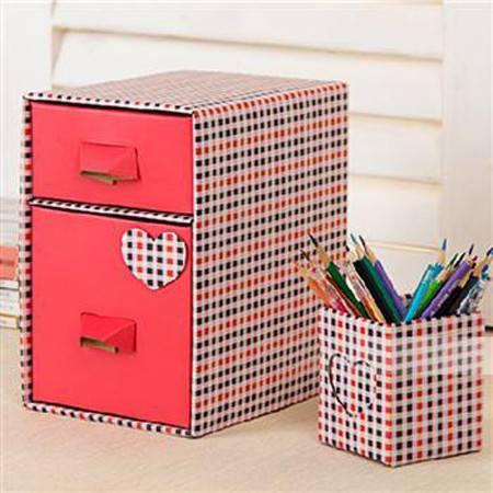 畸良DIY笔筒加抽屉(2格)纸质桌面收纳盒收纳套装JR935