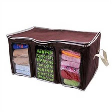 卡秀 竹炭可视三格三门衣物收纳箱 内衣收纳盒棉被子衣物收纳袋可视整理箱 65L