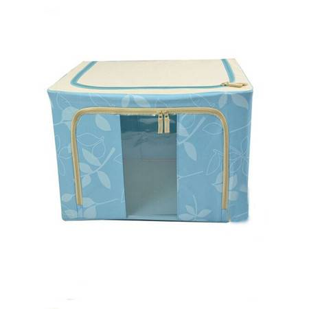普润 55L蓝色牛津布钢架百纳箱 整理收纳箱 蓝色树叶 单视 双开门