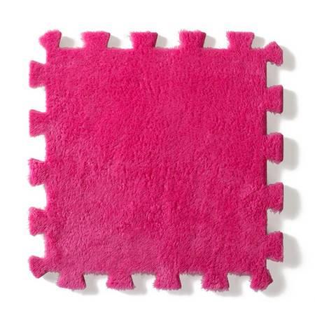 法兰绒拼接毛绒地垫--玫红色(单块装)