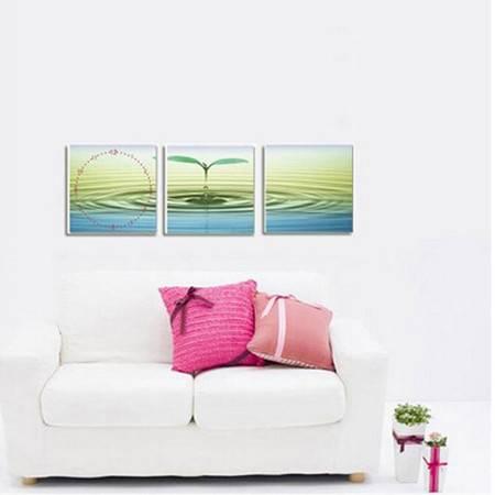 餐厅装饰画 无框画三联画 创意个性墙画壁画 小嫩芽 静音