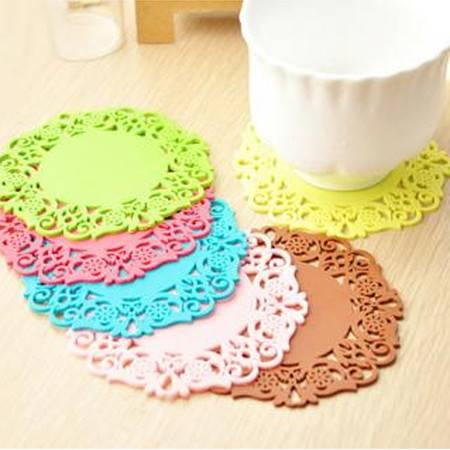 时尚蕾丝镂空硅胶杯垫 彩色防滑隔热垫 咖啡色20片