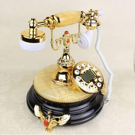 欧式仿古电话 美式天然黄玉黑底来电显示电话机时尚复古