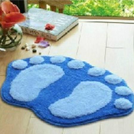 普润 可爱植绒脚丫地垫 地毯 吸水防滑浴室垫 入门口垫 蓝色