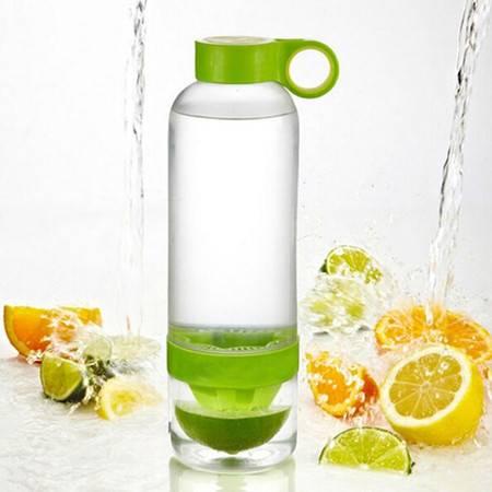普润 柠檬水杯果汁杯榨汁杯柠檬杯子 塑料杯--绿色