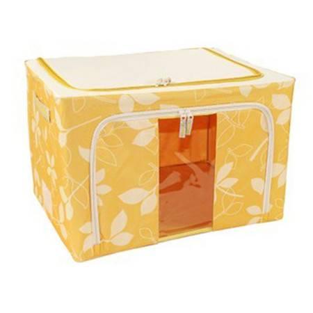 普润 80L黄色 牛津布钢架百纳箱 整理收纳箱 黄色树叶 单视 双开门