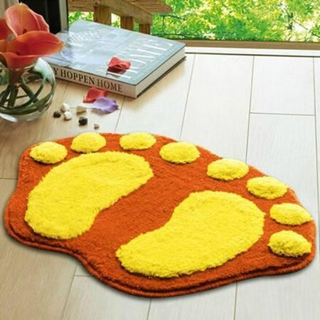 普润 可爱植绒脚丫地垫 地毯 吸水防滑浴室垫 入门口垫 橘黄色