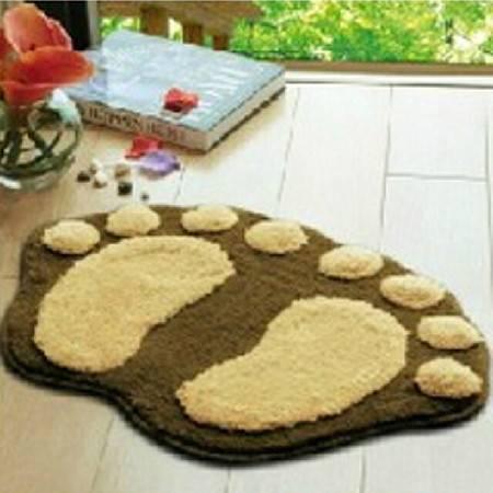普润 可爱植绒脚丫地垫 地毯 吸水防滑浴室垫 入门口垫 咖啡色