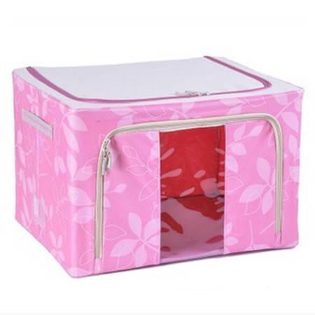 普润 44L粉色 牛津布钢架百纳箱 整理收纳箱 粉色树叶 单视 双开门