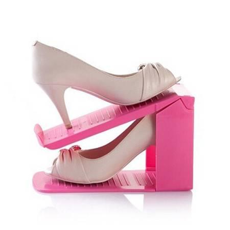 普润 组合立体双层收纳鞋架--粉色(3个装)