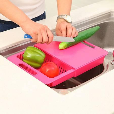 可滑动厨房沥水二合一切菜板 置物架(玫红)