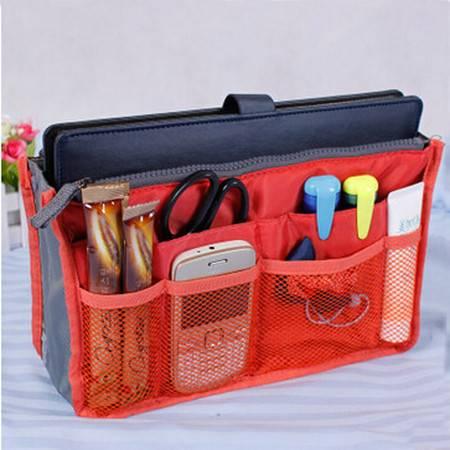 普润 化妆包 双拉链包中包 多功能洗漱包 双手提收纳包 大红色