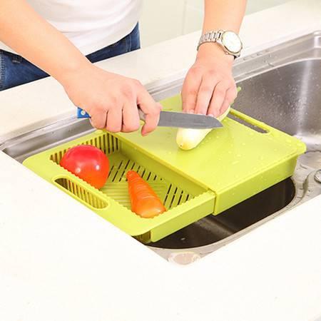 可滑动厨房沥水二合一切菜板 置物架(绿色)