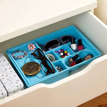 普润 炫彩易分类双层抽屉收纳盒--蓝色